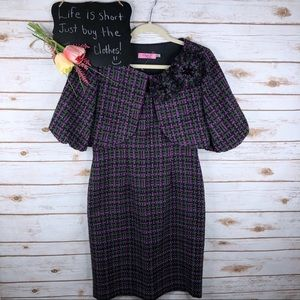 Eliza J tweed 2 pc floral rosette sheath dress